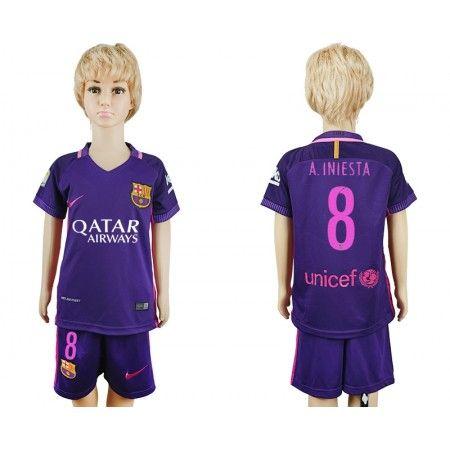 Barcelona Trøje Børn 16-17 #Andres Iniesta 8 Udebanetrøje Kort ærmer,199,62KR,shirtshopservice@gmail.com