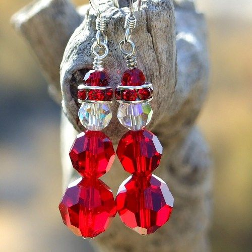 Swarovski Santa Christmas Earrings Handmade Holiday Jewelry Siam Red | ShadowDogDesigns - Jewelry on ArtFire