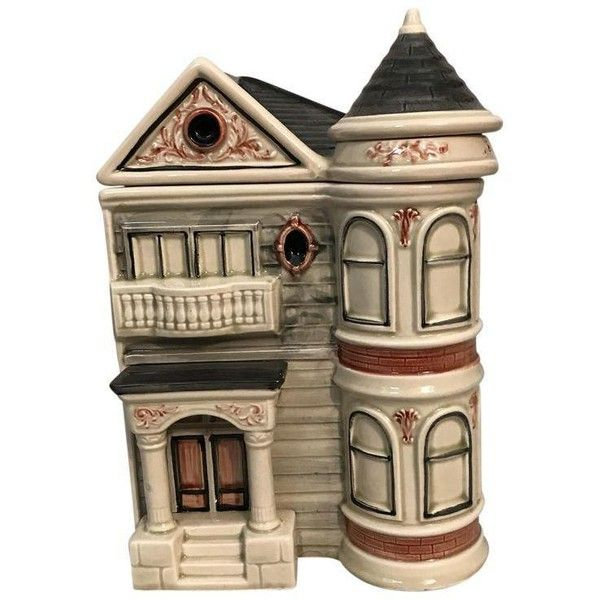 San Francisco Victorian Row House Cookie Jar ($58) ❤ liked on Polyvore featuring home, kitchen & dining, food storage containers, bottles & jars & jugs, ceramic food storage containers, ceramic jar and ceramic cookie jar