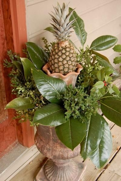 Christmas Urn with a Pineapple, a Southern Staple!!! Bebe'!!! Lovely holiday arrangement!!!