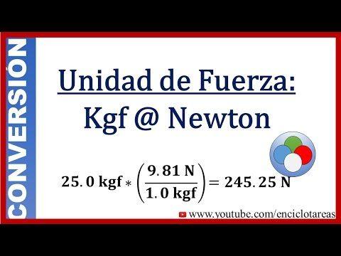 Convertir De Kilogramo Fuerza A Newton Kgf A N Youtube Math Tricks Math Education