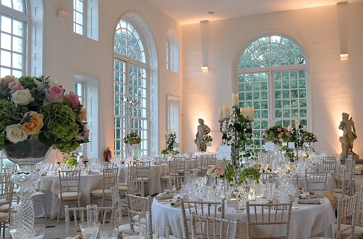 The Orangery with cabaret style seating for a wedding reception