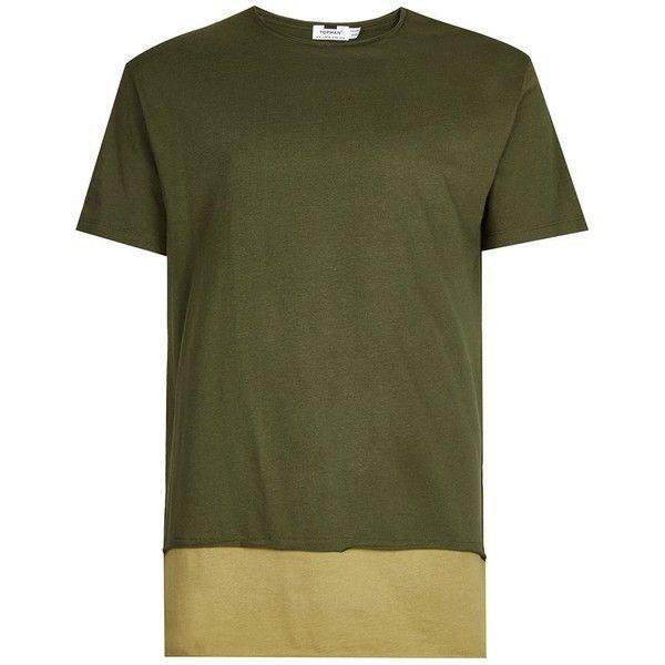 TOPMAN Khaki Double Layer Longline T-Shirt ($21) ❤ liked on Polyvore featuring men's fashion, men's clothing, men's shirts, men's t-shirts, green, mens longline shirt, mens base layer shirts, j crew mens shirts, mens green shirt and topman mens shirts