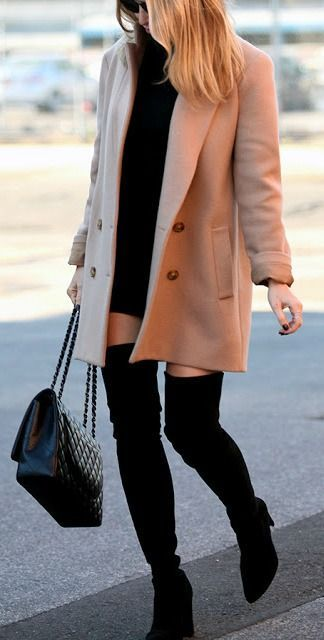 #winter #fashion / all black + camel coat