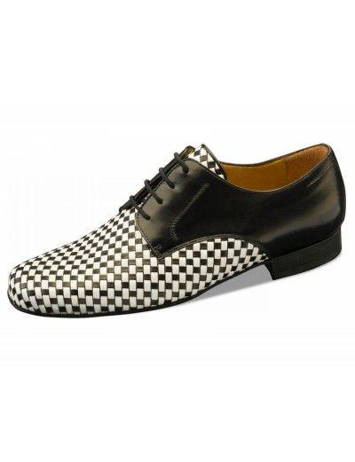 Chaussures de danse quadrillé noir et blanche, Cordoba Nueva Epoca en cuir