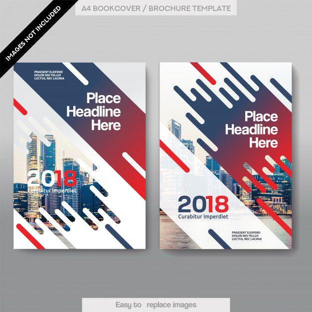 Plantilla de diseño de cubierta de libro de negocios de fondo de la ciudad Vector Premium