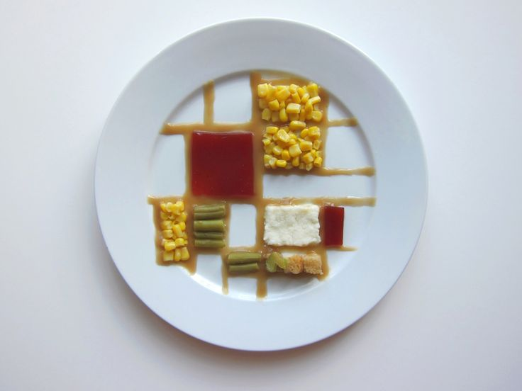 """what if famous modern artists plated thanksgiving dinner? example: Hannah Rothstein, """"Piet Mondrian"""" (2014)"""