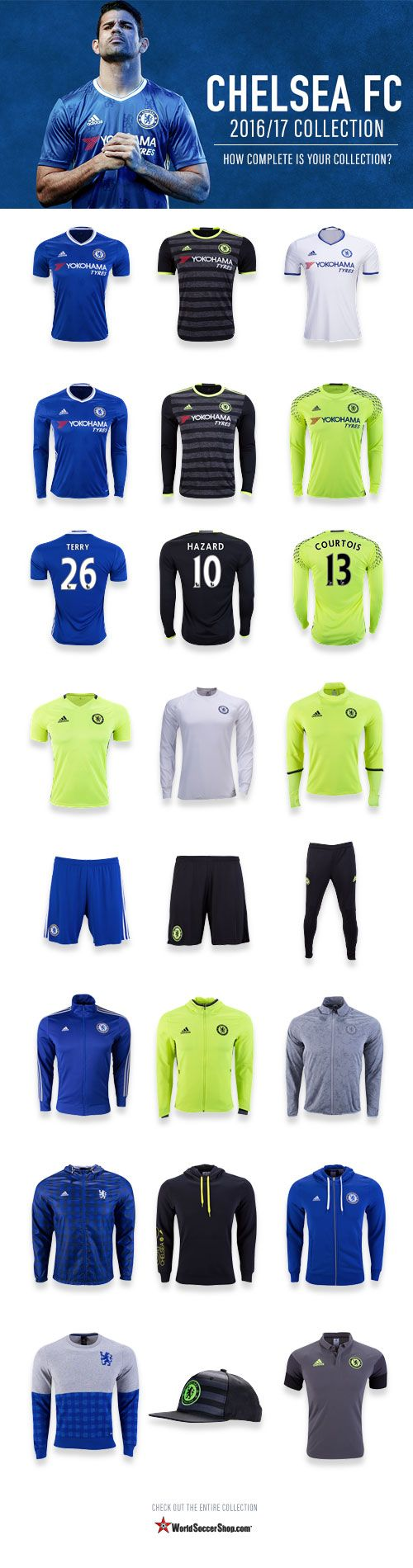 Chelsea FC welcome a new era with coach Antonio Conte, and stand out performances from the likes of Diego Costa,Michy Batshuayi, Eden Hazard & Victor Moses. Will they rise to beat Manchester United & Man City in the Premier League 2016?    Check out the complete 2016/17 Chelsea FC Collection at WorldSoccerShop.com and fill any gaps missing in yours. #BritishPremierLeague #Soccer #Apparel #Athletes #Training #Jerseys #Chelsea