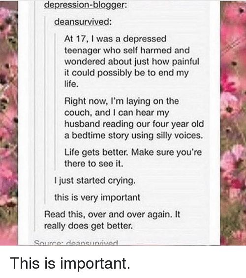 Image result for dean survived depressed teen who wondered about just how painful it could possibly