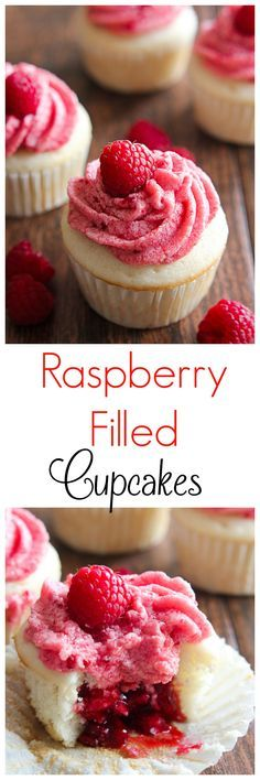These Raspberry Filled Cupcakes are so fun to make and even more fun to bite into! Treat someone to them this Valentine's Day. | mandysrecipeboxblog.com