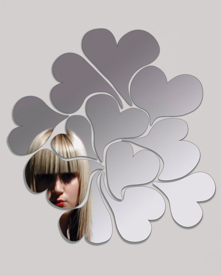 mirrordeco.com — I Love Me - Wall Sticker Mirror with Heart Shapes H:50cm