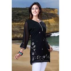 Black Georgette 3/4-sleeve Kurti/Tunic (India)