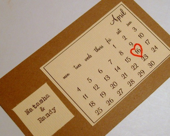 I enjoy the calendar approach to the Save-the-Date...Mark's concern is that the invitation does not include enough information.  It's a fair point! (Etsy - 0namesleft)