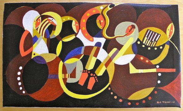 Mbira Musicians - Acrylic Painting Artwork by Hadeda on Etsy