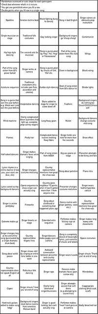 Eurovision bingo by LetheSomething, via Flickr