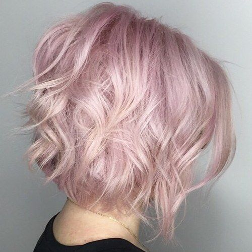 Pastel+Pink+Wavy+Bob