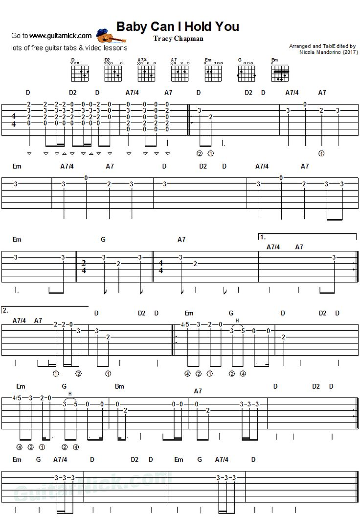Baby Can I Hold Your - easy guitar tab