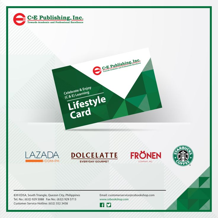 Redeem your rewards from any of these brands. Get a Celebrate & Enjoy Learning Lifestyle Card today at C & E Bookshop. Terms and conditions apply.  http://www.cebookshop.com/  #cebookshop #cepublishing #lazada #dolcelatte #fronen #starbucks