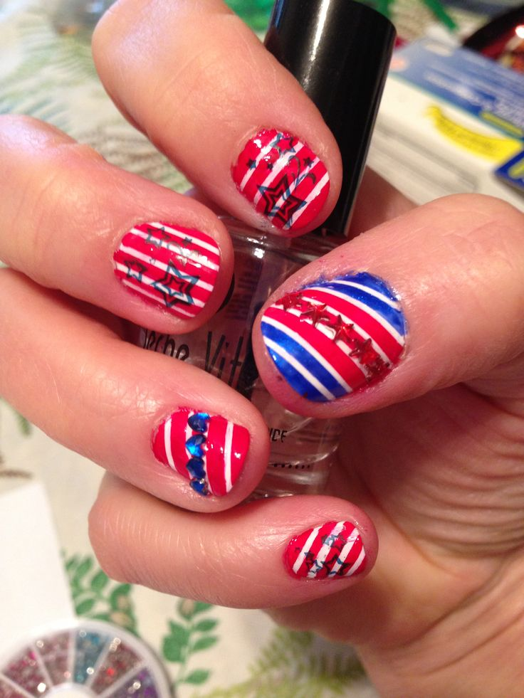 fourth of july nail art for short nails