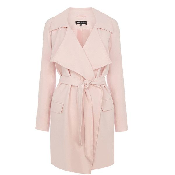 Warehouse Draped Trench (1.105 UYU) ❤ liked on Polyvore featuring outerwear, coats, jackets, coats & jackets, pink, pink trench coat, trench coats, draped trench coat, pink coat and lightweight coat