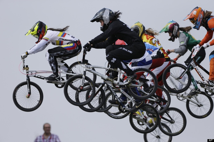 Mariana Pajon  Colombia's Mariana Pajon (5) leads the competition in a BMX cycling women's semifinal run during the 2012 Summer Olympics, Friday, Aug. 10, 2012, in London. (AP Photo/Matt Rourke