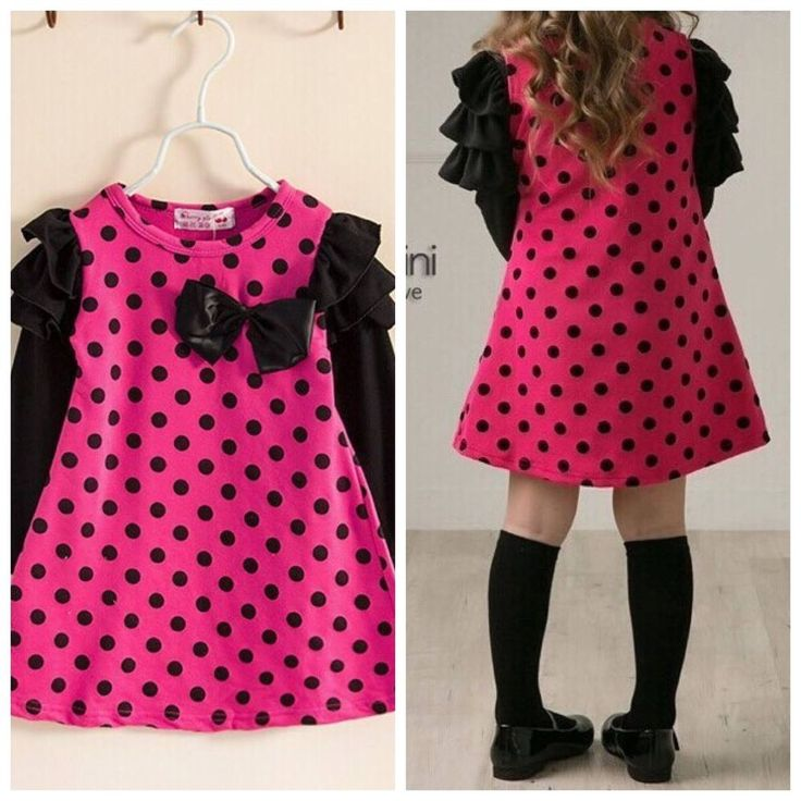 Buy from our eBay store or whatsapp 9718721059 Cute Pink and Black Polka Dot with bow dress Frock Skirt From Urban Buy
