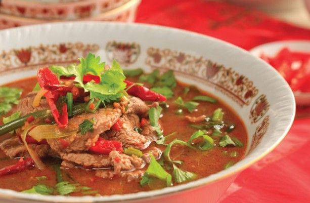 Pork belly stewed in bakuteh.  Bakuteh is a herb and #spice mix; this is a #soup containing #bakuteh and pork belly.