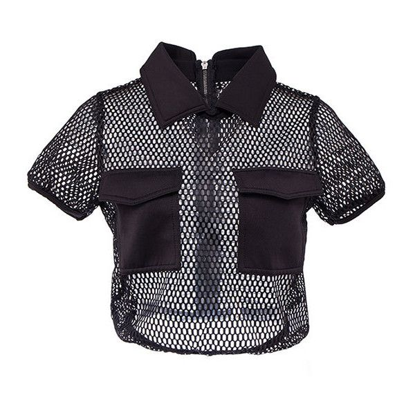 Black Fishnet Two Pocket Polo T-shirt ($24) ❤ liked on Polyvore featuring tops, shirts, black, crop top, fishnet top, polo shirts, pocket tops and fishnet crop top