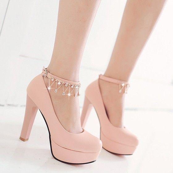 Rosa-runde Zehe Chunky Kette Strass Süße hochhackige Schuhe