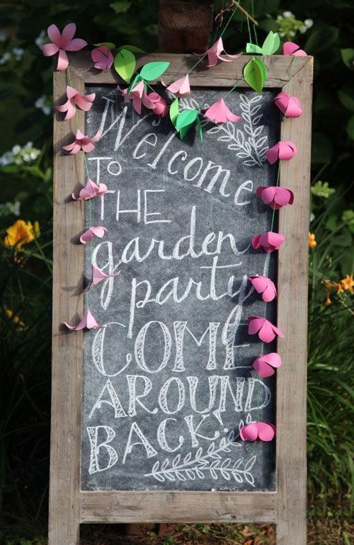 Welcome to the garden party! Come around the back! What a fantastic chalkboard to welcome your guests to your alfresco shindig! #pinkstergin #summer #gardenparty