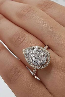 Details about Certified 2.80Ct Pear White Diamond Halo Engagement Ring in solid 14K White Gold