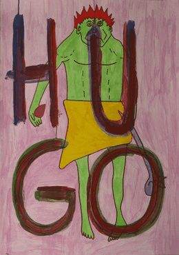 """""""ONE HUNDRED HUGOs """"Outsider Art / Art Brut from german artist IVAN SUMMERSKY  In 2010, I created within onehundred days a daily painting of my colourful stone age man """"HUGO"""" who, as a constant, is always dressed solely in a loin cloth and holds a club in his left hand."""