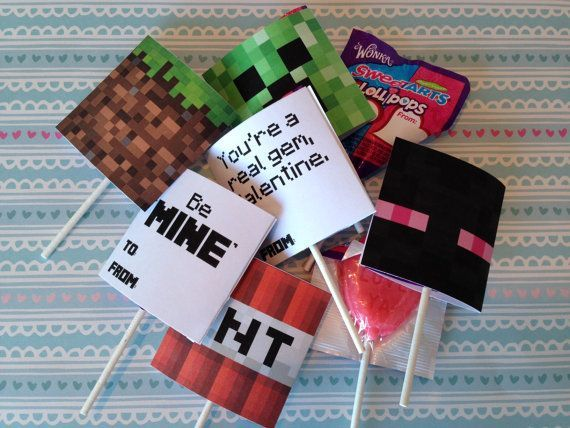 INSTANT DOWNLOAD Minecraft Valentines for Suckers by MeckMom @ decorating-by-day