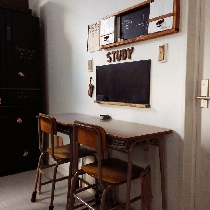 視力検査表/インターフォン隠しDIY/学校の机と椅子/机のインテリア実例 - 2014-11-07 15:33:48 | RoomClip(ルームクリップ)
