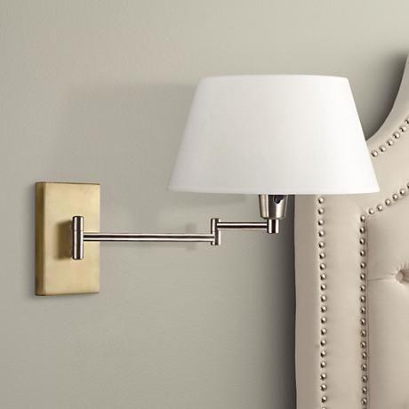kenroy element vintage brass swing arm plugin wall light