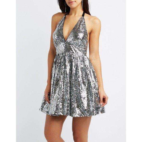 Charlotte Russe Sequin Halter Skater Dress ($20) ❤ liked on Polyvore featuring dresses, silver, white party dresses, party dresses, silver dress, halter dress and halter top