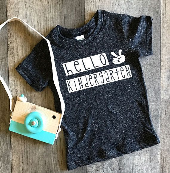 school kids shirt-hello kindergarten-back to school-first day of school- peace