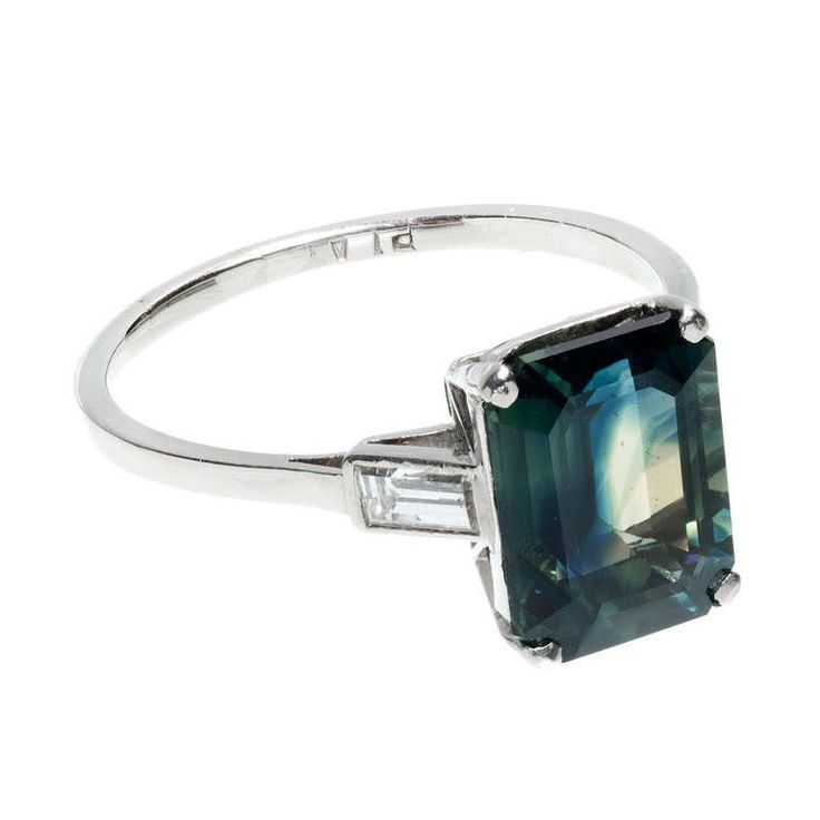 Natural No Heat Blue Green Sapphire And Diamond Ring For Sale at 1stdibs