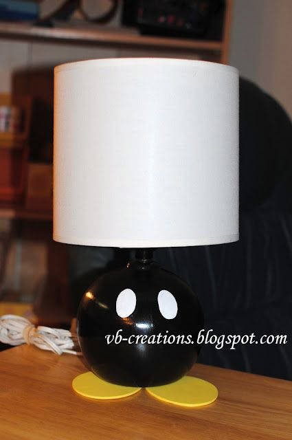 DIY Super Mario Bomb (Bob-omb) lamp tutorial - or paint it red and add a black lamp shade and make it a Mickey lamp!