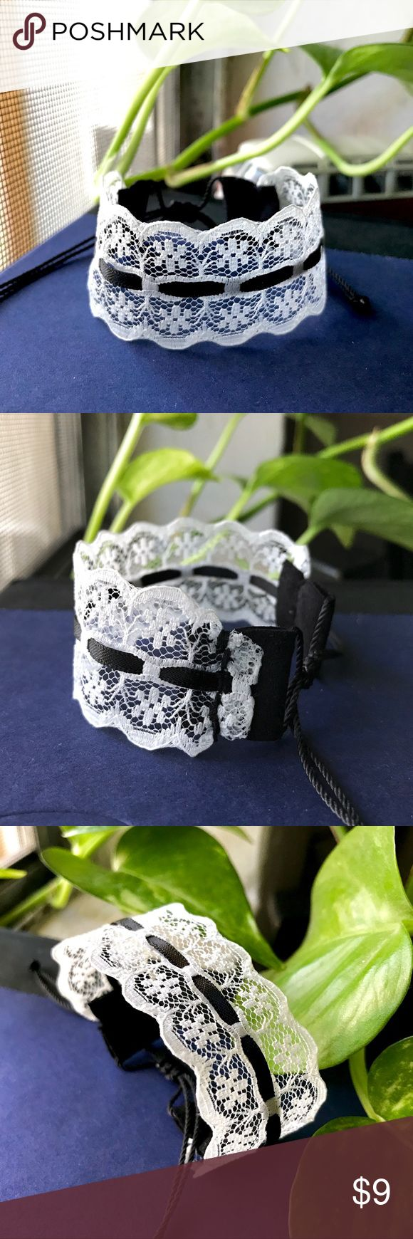 Vintage White Lace Black Suede Bracelet Bundle for 10% off + FREE Bracelet  •This delicate white lace trim & black satin ribbon running through center, finished with black suede on each end & nylon thread closure knot for a secure fit. Lovely retro style!  •Trim width is 1 inch (100% cotton)   •ⓢⓘⓩⓔ: Adjustable knot! (Fits 5 inches to 8.5 inches)   •Coachella/BurningMan/rock/rockabilly/edc/raves/gypsy/bohemian/vintage/90s/goth/gothic/dark/pinup Handmade by me! Jewelry Bracelets