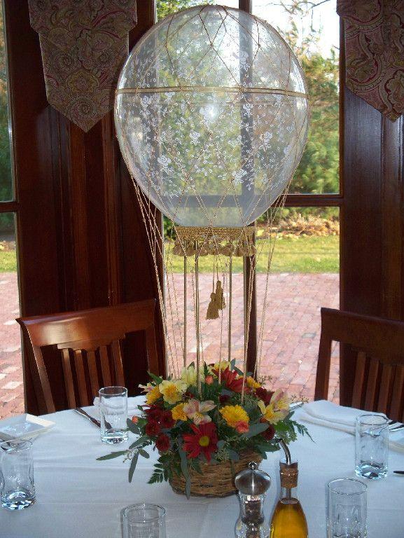 Hot air balloon centerpiece contact us to order nets for Balloon nets for centerpieces