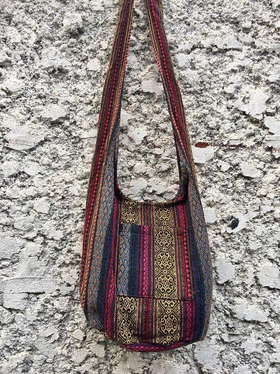 Boho Crossbody Sling Bag Tribal Woven Hippie Aztec Nepali Festival Tote Hmong Vegan Unique Gift Ikat Ethnic Style For Men Women