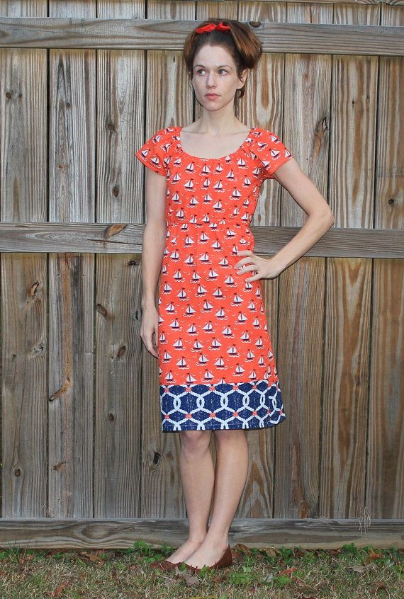 Womens Nautical Dress retro Peasant Dress XS by sweethomeboutique, $75.00