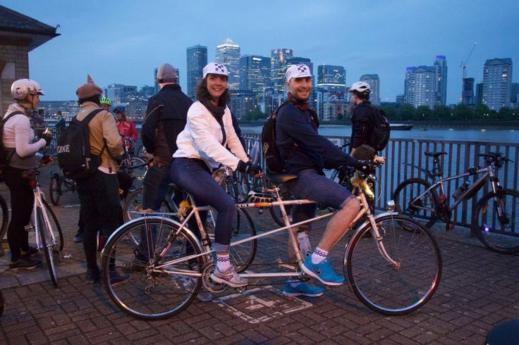 Susana & Daniel on their vintage Peugeot Tandem bicycle on one of our 2015 night rides along the River Thames and up to an area facing Canary Wharf. You can see our upcoming rides in London here: https://www.facebook.com/IBikeLondon/
