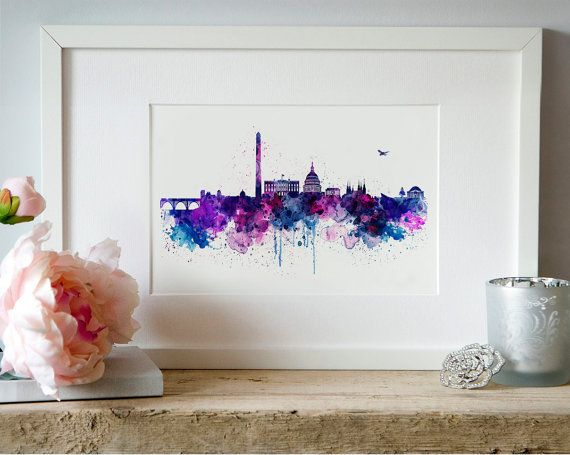 Washington DC Skyline Watercolor painting City art by Artsyndrome