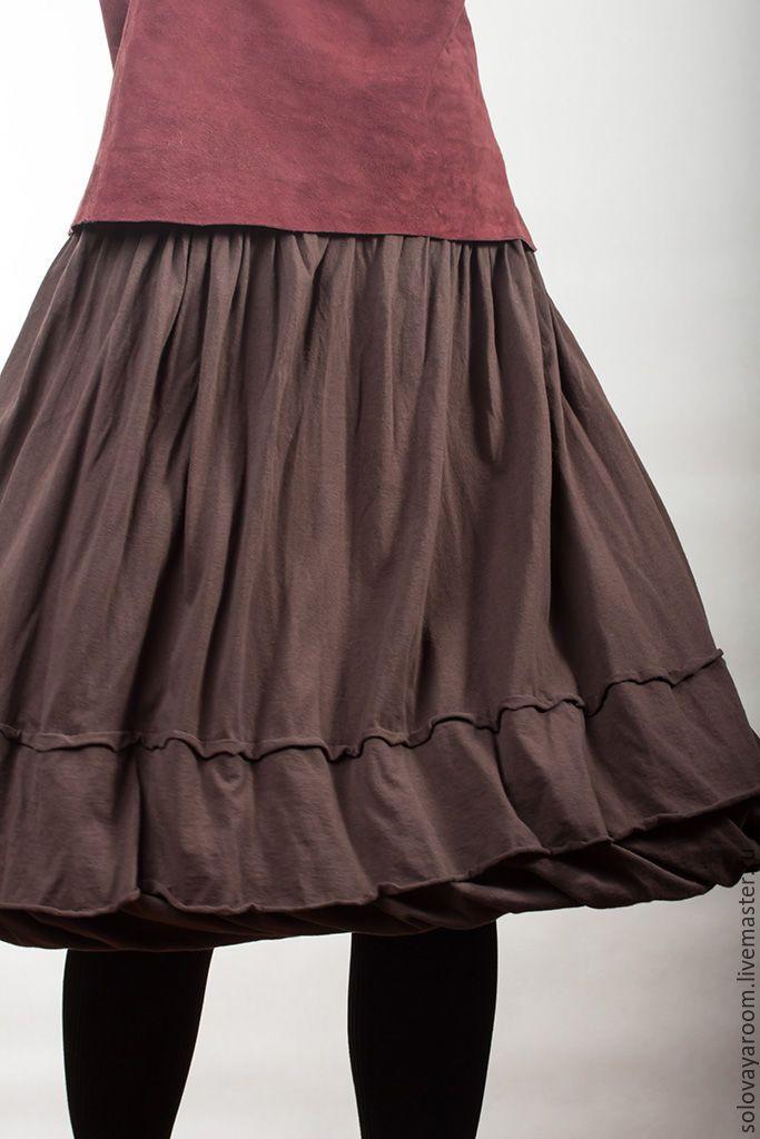 Трикотаж юбка на кокетке