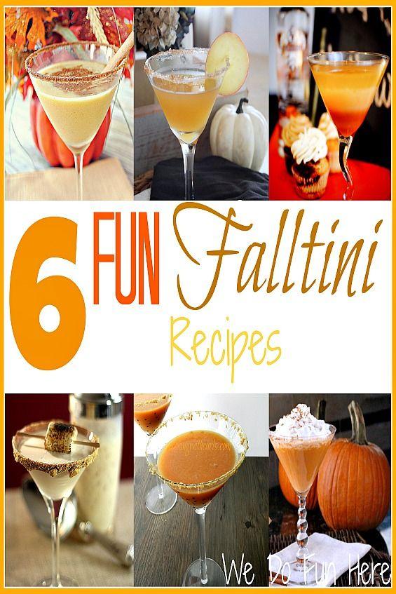 6 Fun Falltini Recipes ~  >Spiced Pumpkin Martini >Whipped Apple Cider-Tini >Candy Corn Martini  >Smoretini >Pumpkintini >Carmel Nut Pumpkintini  Recipes & Recipe Links @: http://wedofunhere.com/2013/09/6-fun-falltini-recipes/#sthash.WNfjgccz.qupESPbU.dpbs