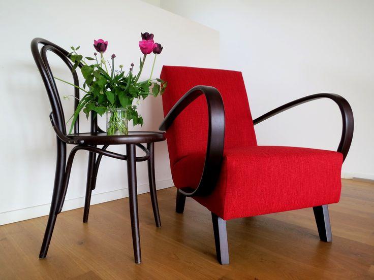 Vintage chair. Halabala. Czech design. Midcentury modern furniture.