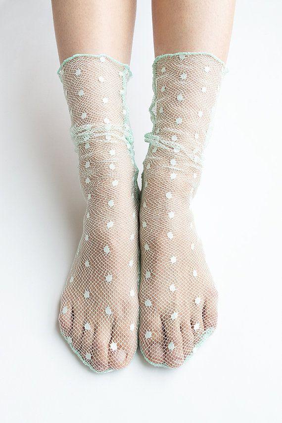 Women New Hezwagarcia Mini Bubble Polka Dot Super Mesh So Unique Special Loose Socks Crew in Mint
