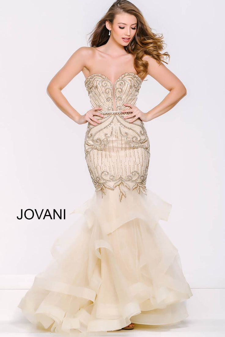 Jovani 36984 gorgeous strapless beaded mermaid gown with a tiered horsehair hem skirt.